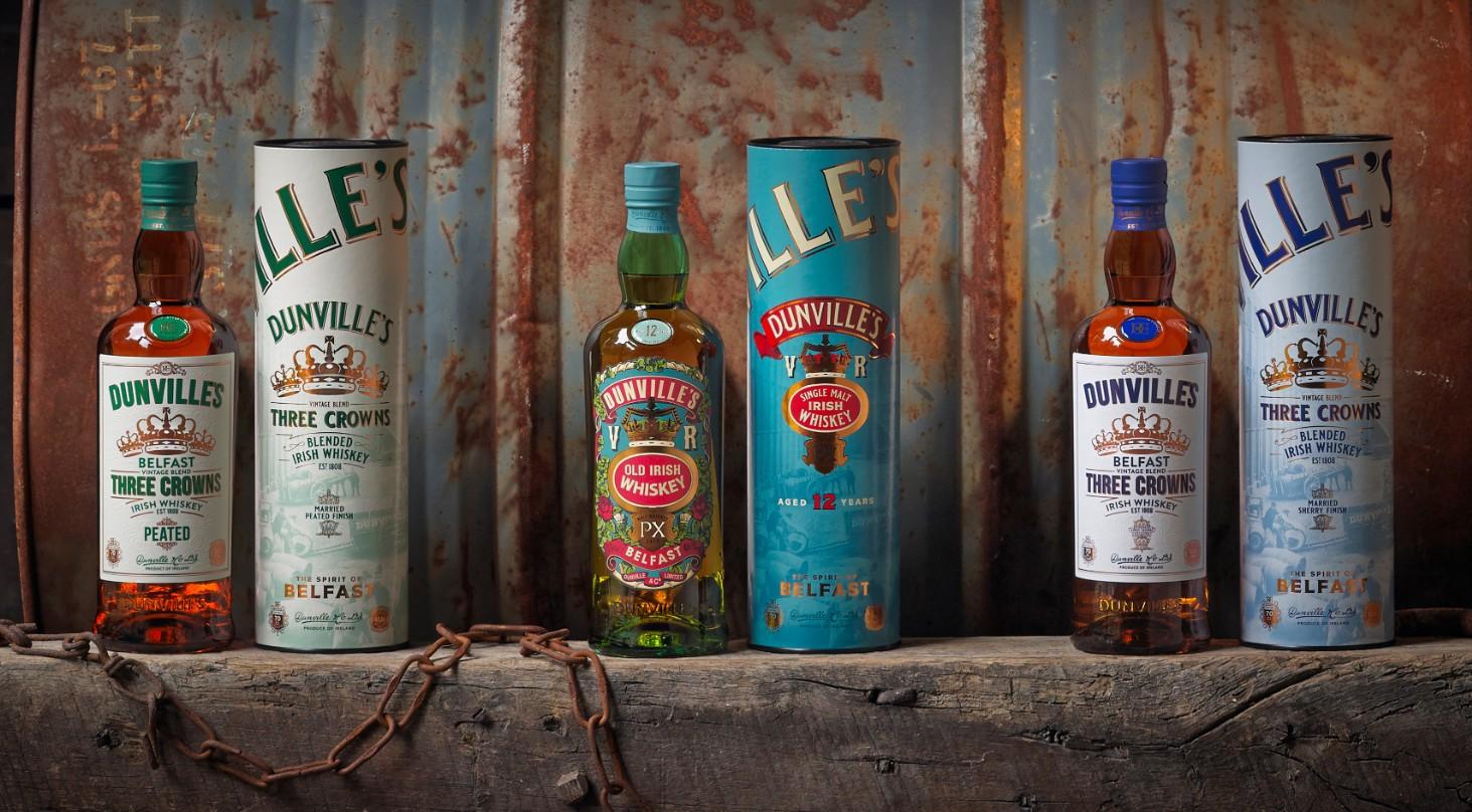 Dunville's Irish Whiskey bottles with presentation tubes
