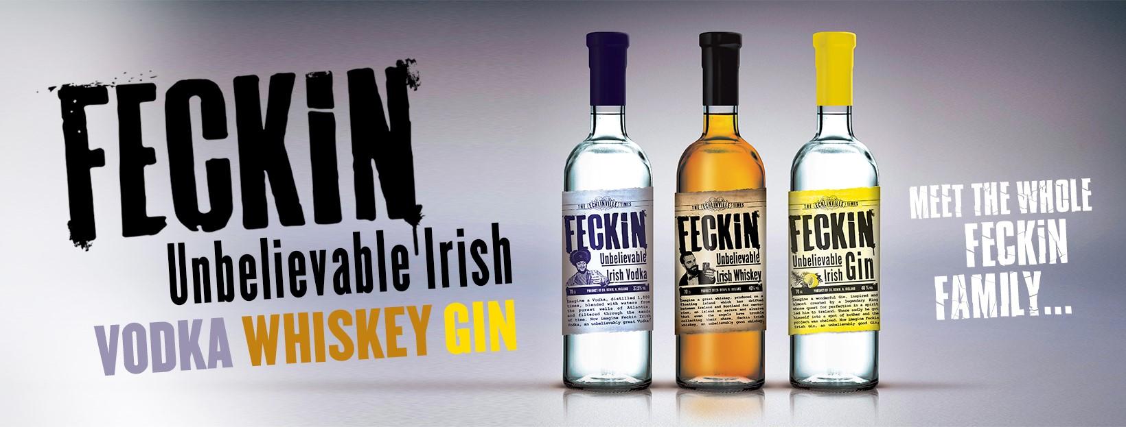 Feckin banner logo with three bottles