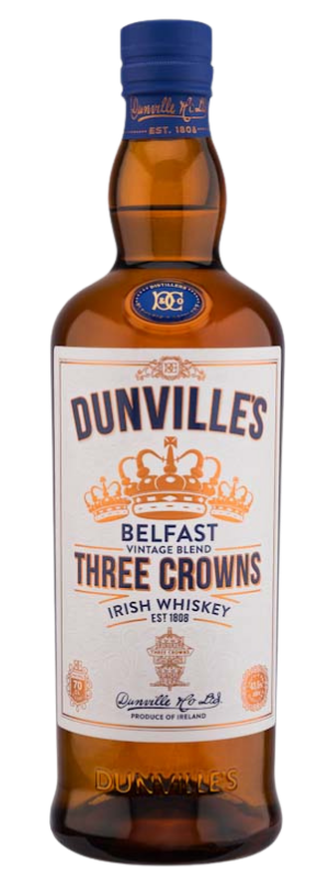 Dunvilles Three Crowns Irish Whiskey bottle.