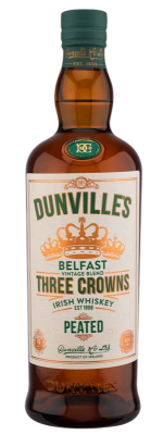 Dunville's Three Crowns Peated Irish Whiskey bottle.