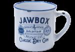 Jawbox Gin white and blue ceramic mug.