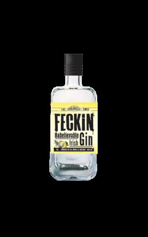 Feckin Irish Gin miniature bottle.