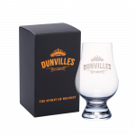 Dunville's Irish Whiskey Glass with a black and copper gift box.