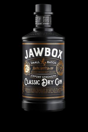 Jawbox export strength Gin bottle.