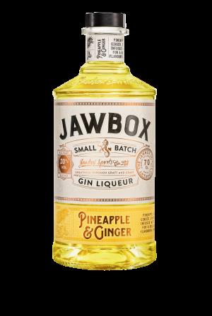 Jawbox Pineapple & Ginger Gin liqueur bottle.