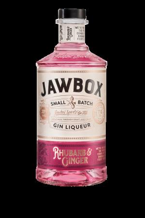 Jawbox Rhubarb & Ginger Gin liqueur bottle.